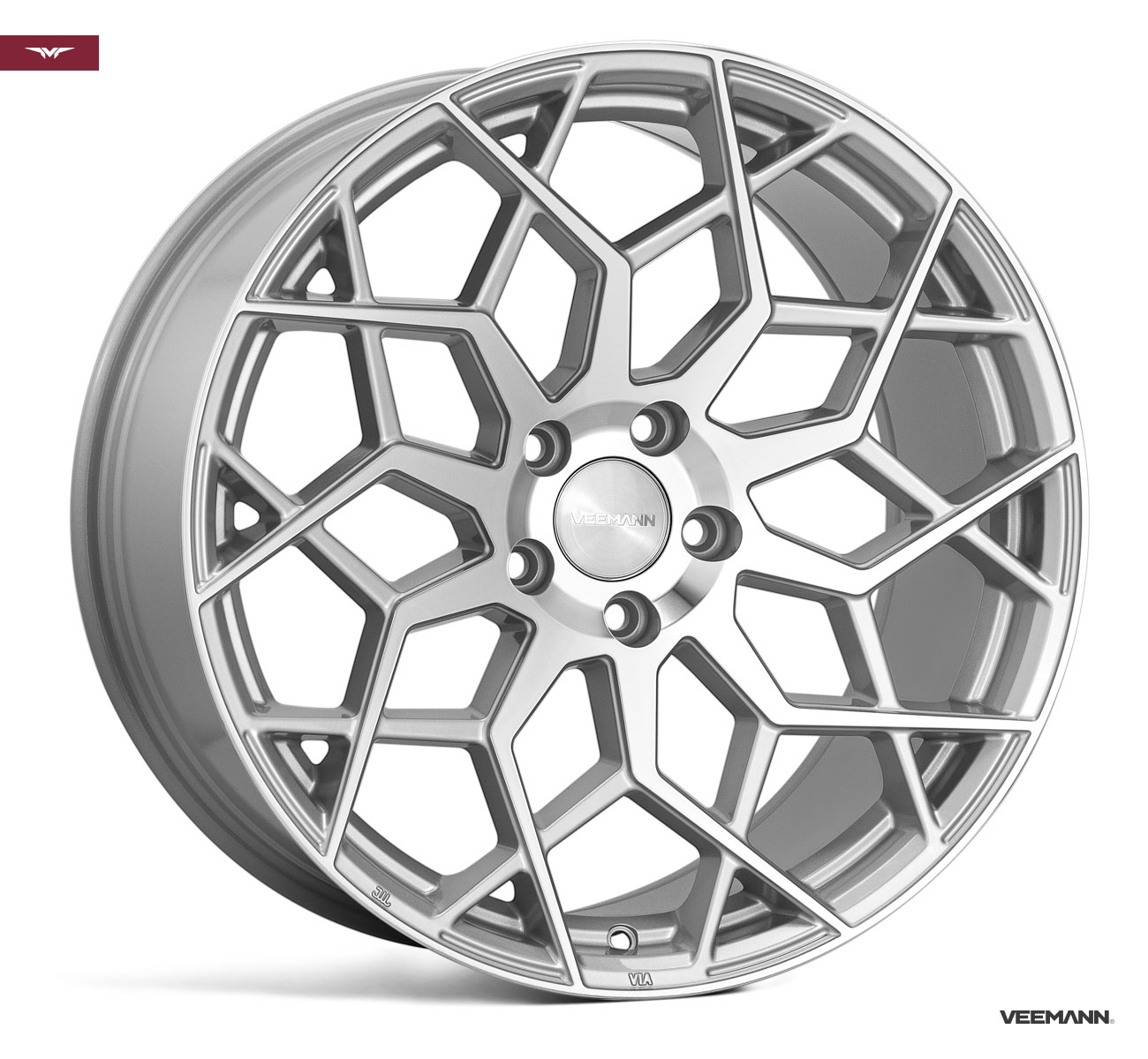 "NEW 19"" VEEMANN V-FS42 ALLOY WHEELS IN SILVER POL WITH WIDER 9.5"" REARS"